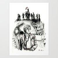 les miserables Art Prints featuring Les Miserables Portrait Series - Enjolras by Flávia Marques