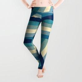 Vintage Faded 70's Style Blue Rainbow Stripes Leggings