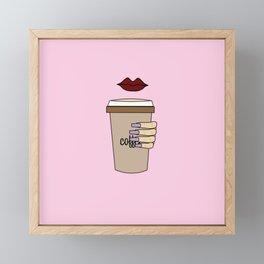 coffee sip Framed Mini Art Print