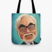 hayao miyazaki Tote Bags featuring Hayao Miyasaki by CarolaRT