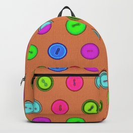 Stylish hand drawn colorful vintage buttons pattern on terracotta color Backpack