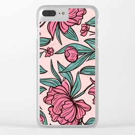 Floral Obsession (pink peonies vintage flowers pattern) Clear iPhone Case