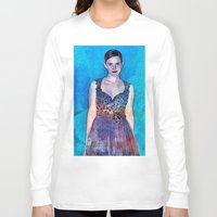 emma stone Long Sleeve T-shirts featuring Emma Watson - Blue by André Joseph Martin