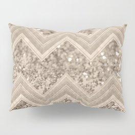 Sepia Glitter Chevron #1 #shiny #decor #art #society6 Pillow Sham
