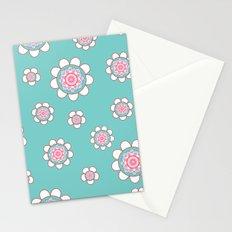 Mandala Flowers Pattern Blue Pink Stationery Cards