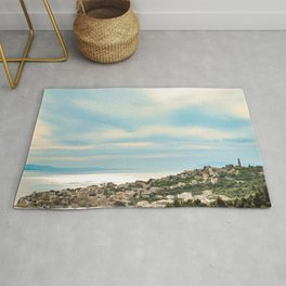 European Sunset | Colorful Costal Clouds Skyline Charming Ocean Town Baby Blue Yellow Tones Rug