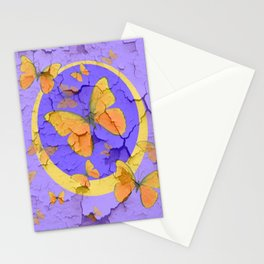 OLD YELLOW BUTTERFLIES &  LILAC WALLPAPER MODERN ART  f Stationery Cards