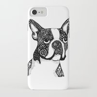 boston terrier iPhone & iPod Cases featuring Boston Terrier by DayLee Doodler