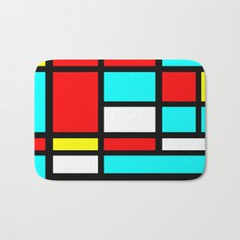 Color Block Geometric Design in Red and Turquoise II Bath Mat