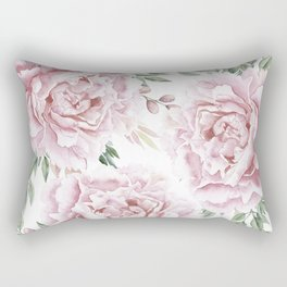 Pretty Pink Roses Floral Garden Rectangular Pillow