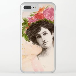 Flower Hat Clear iPhone Case