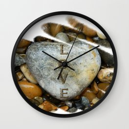 Pebble Love HeArt Wall Clock