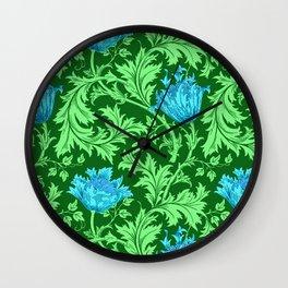 William Morris Anemone, Emerald Green and Cerulean Blue Wall Clock