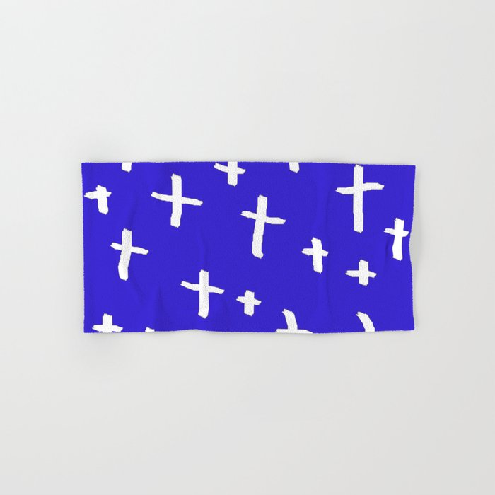 blue white cross Hand & Bath Towel