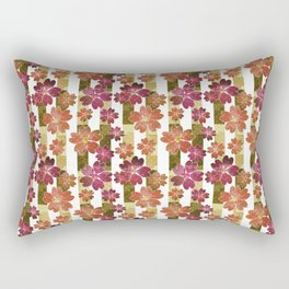 Retro . Floral pattern in yellow and brown tones . Rectangular Pillow
