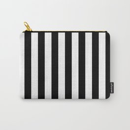 Narrow Vertical Stripes - White and Black Carry-All Pouch