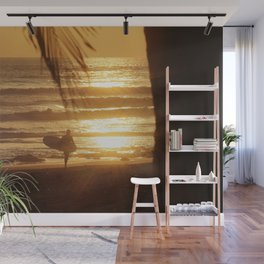 Golden Beach with Surfer (Color) Wall Mural