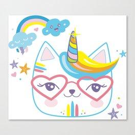 caticorn unicorn crazy cat lady unicat gift kawaii tee shirt Canvas Print