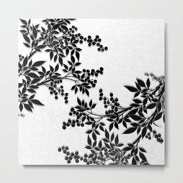 Black and White Leaf Toile Metal Print
