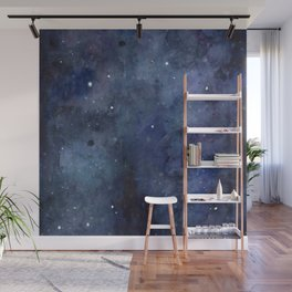 Night Sky Galaxy Nebula Stars Watercolor Space Texture Wall Mural