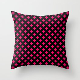 Hot Neon Pink Crosses on Black Throw Pillow