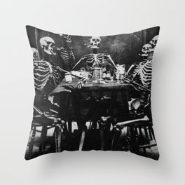 Six Skeletons Smoking Throw Pillow