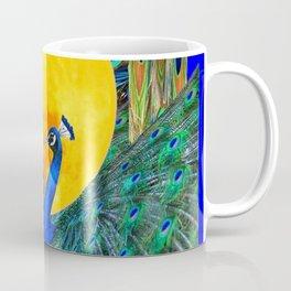 FULL GOLDEN MOON & 2  BLUE PEACOCKS PATTERN ART Coffee Mug