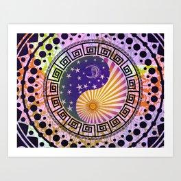 Vintage Sun Moon & Stars Yin & Yang Art Print