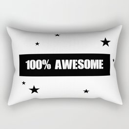 100% Awesome Kids Room Quote - Black And White Rectangular Pillow