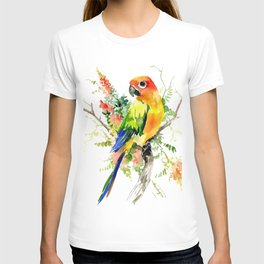Sun Conure Parakeet, tropical colors parrot art design T-shirt