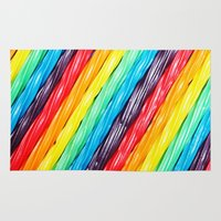 candy Area & Throw Rugs featuring Rainbow Candy: Licorice by WhimsyRomance&Fun