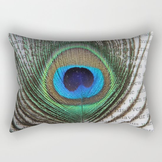 Peacock Feather on Old Paper  Rectangular Pillow