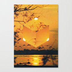 Hexagon Sunset Canvas Print