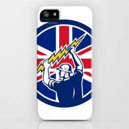 British Electrician Union Jack Flag icon iPhone Case