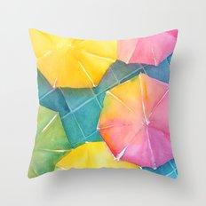 Rainy Day Umbrellas Throw Pillow