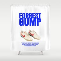 forrest gump Shower Curtains featuring Forrest Gump Movie Poster by FunnyFaceArt