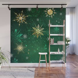 Gold Snowflakes on a Green Background Wall Mural