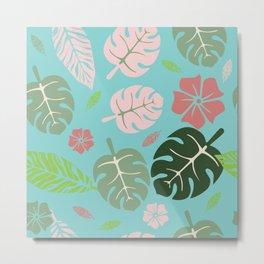 Tropical leaves Aqua paradise #homedecor #apparel #tropical Metal Print