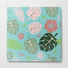 Tropical leaves Aqua paradise #homedecor #apparel #tropical Metal Print