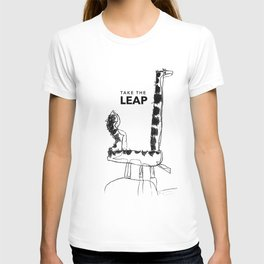 Leaping Dinosaur - text T-shirt