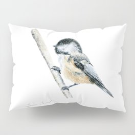 """Chicka-dee-dee-dee"" a painting of a Chickadee by Teresa Thompson Pillow Sham"
