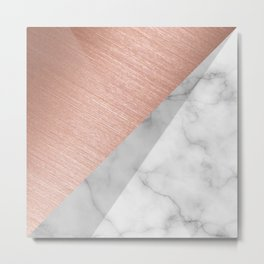 Rose Gold and Marble Metal Print