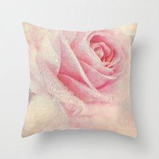 Antique Rose - pastel pink & cream vintage linen textured floral Throw Pillow
