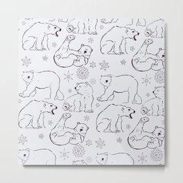 Snowy PolarBears Metal Print