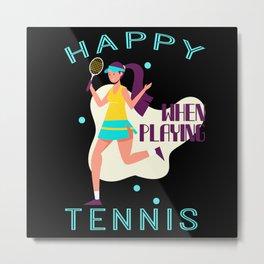 Tennis Player with Racket Women Gift Metal Print