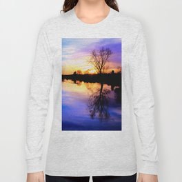 River in flood at sunset Long Sleeve T-shirt