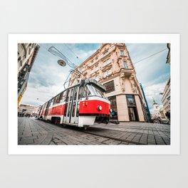 Typical Old Tram in Czech Republic Art Print
