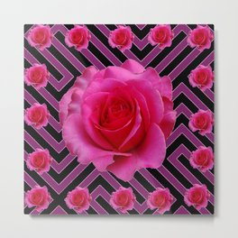 FUCHSIA PINK ROSES ON PUCE-BLACK GRAPHIC Metal Print