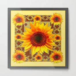 Brown & Yellow Sunflower Grey Art Metal Print