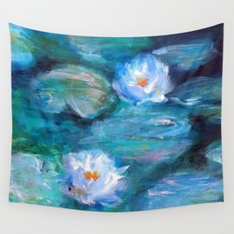 Blue Water Lilies Wall Tapestry